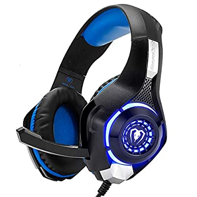 Beexcellent Gaming Headset for PS4 Xbox One PC Mac Controller Gaming Headphone with Crystal Stereo Bass Surround Sound, LED Light & Noise-Isolation Microphone by Beexcellent