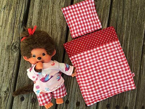 Puppenkleidung handmade passend für MONCHICHI Gr. 20 cm Bekleidung Schlafanzug Pyjama + Bettzeug rot NEU