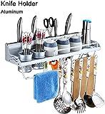 Cuchillo universal vertical de aluminio soporte de pared gancho sin equipar Plataforma buena ventilación de la cocina Material ahorrar espacio Tabla de cortar estante del estante extraíble fácil limpi
