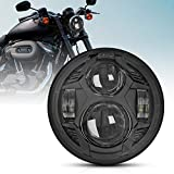 2020 Newest Black 51W 5-3/4 5.75 inch LED Headlight with EMC Compatible with Iron 883 Dyna Street Bob Super Wide Glide Low Rider Night Rod Train Softail Deuce Custom Sportster