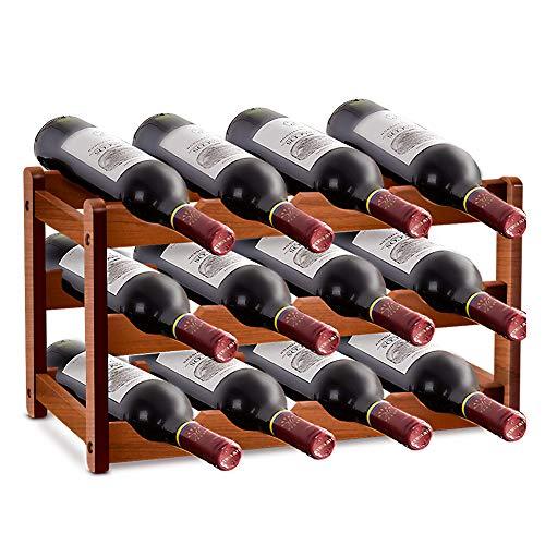 Porta vino in legno impilabile, 12 bottiglie di vino in bambù a 3 strati, contenitore per vino autoportante, utilizzato per il bancone del bar della cucina del soggiorno