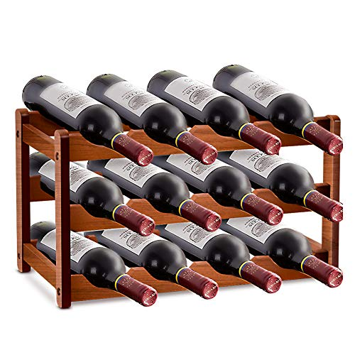 Botellero de madera apilable, 12 botellas de vino de bambú de 3 capas, para el mostrador de bar de la cocina del salón familiar