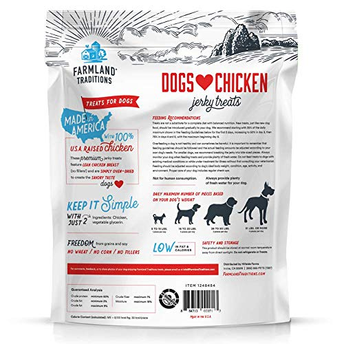 Farmland Traditions Filler Free Dogs Love Chicken Premium Jerky Treats for Dogs, 3 lb. Bag