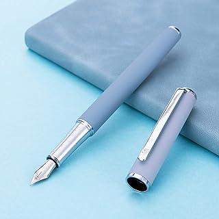 قلم حبر معدني مطفأ اللمعة من Hongdian 523 Retro Morandi (أزرق، رأس رفيع جدًا 0.4 مم)