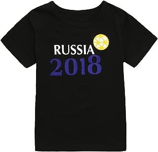 Respctful ♫♫ Baby Boys Short Sleeve Summer Cotton T-Shirts Toddler Infant Kids Cute Football Soccer Russia Print Tee