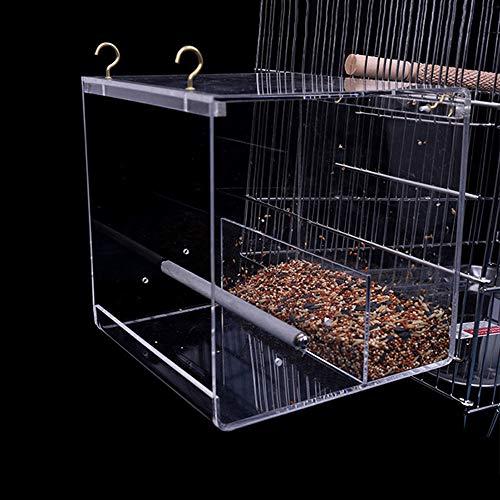 GFEU Vogelfutterhäuschen No Mess Futterbehälter mit Haken für Papageien-Wellensittich
