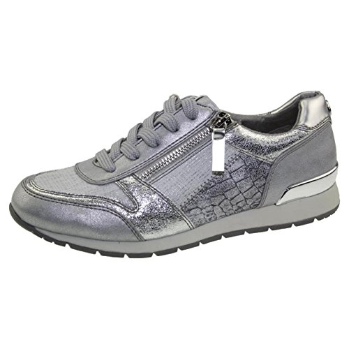TOM TAILOR 4894105 Leichter Damen Sneaker Low-Top Halbschuh Glitzer metallic Gr.37-43 Silber EUR 37
