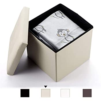 Homeway Baúl Puff Taburete para almacenaje Plegable - Asiento Plegable Arcón Asiento Puf Ordenación Caja de almacenaje 38(CM) x 38(CM) x 38(CM) Carga máxima de 300 kg (Beige): Amazon.es: Hogar