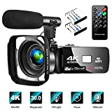4K Video Camera Camcorder with Microphone Vlogging Camera YouTube Camera Recorder Ultra HD 30FPS 30MP 3.0' IPS Touch Screen with Lens Hood & 2 Batteries