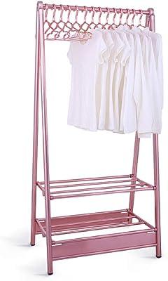 物干しスタンド 衣服Airerアルミニウム-マグネシウム合金乾燥ラック折りたたみ式2極衣服ハンガー屋内屋外バルコニー乾燥スペース 物干しラック (Color : Rose gold)