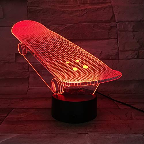 Best Selling The Skateboard Sliding Plate Awesome Teenager 3D LED Night Light USB Table Lamp Kids birthday Gift Bedside home decoration