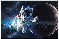 N/Yアートブラシとキャンバス数字による塗装キットDIYの子供用大人用オイルアクリル塗装キット(40cmX50cm / 16インチx 20インチフレームレス)-宇宙飛行士の写真