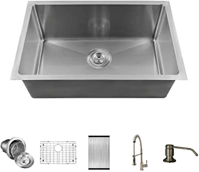 MR Direct 2620s-16-766-BN-ENS All-in-one 16 Gauge Stainless Steel Kitchen Sink, 26 inch Single, Brushed Nickel