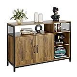 Aparador Buffet Vintage Mueble Aparador para Salón Cocina Comedor Entrada Armario para Almacenamiento con 2 Puertas de Madera y Metal Marrón 113.5x35x75.5cm