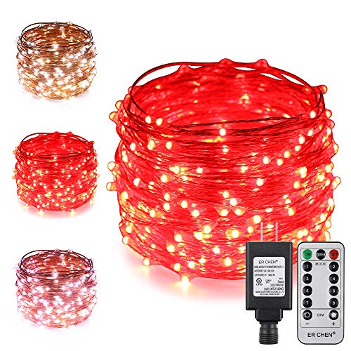 ErChen Dual-Color LED String Lights, 100 FT 300 LEDs Plug in Copper Wire 8 Modes Dimmable Fairy Lights with Remote Timer for Indoor Outdoor Christmas (Cool White/Red)