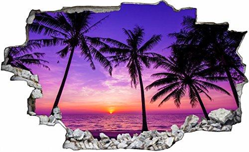 DesFoli Palmen Strand Beach Nacht 3D Look Wandtattoo 70 x 115 cm Wanddurchbruch Wandbild Sticker Aufkleber C440