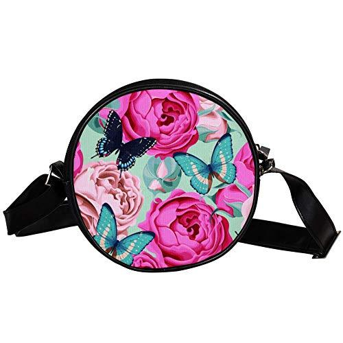TIZORAX Handtasche mit Schmetterlingen und Blumen, klein, rund, für Damen und Mädchen