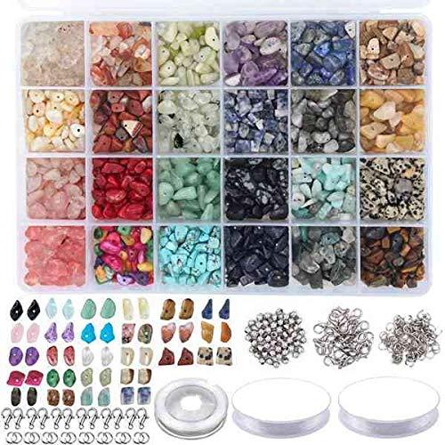 AFANGMQ 1323pcs Kit de Cuentas de Piedras Preciosas Irregulares con Perlas espaciadoras Class de Langosta Anillos de Salto elásticos para Bricolaje Fabricación de joyería (Color : 1323 pcs)