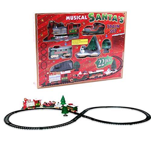 ColiCor Modelo de locomotora de simulación de Navidad con música,Modelo eléctrico tren ferroviario para niños