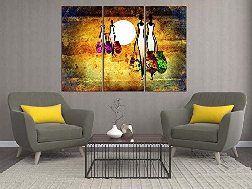 Impresión De Lienzo De Pared Arte Pintura Para Decoración Para El Hogar Pintura Impresión Sobre Lienzo Cuadro 3 Piezas Panel Pinturas Fotos Impresiones 50Cmx70Cmx3(Marco) Gran Mujer Africana Abstracta
