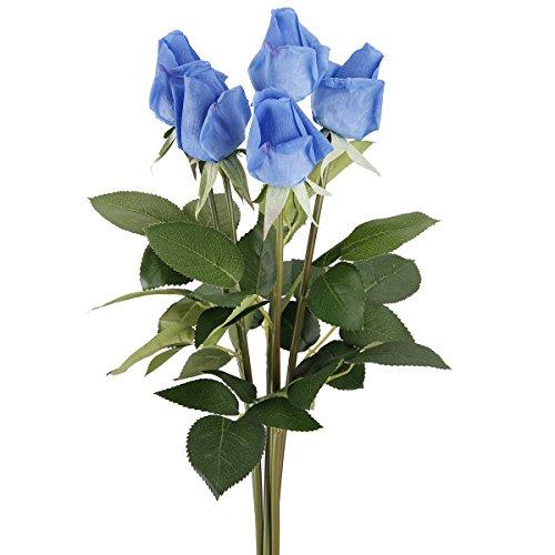 TININNA 5 Bouquets Rose Artificielle Fleur Réel Touch Hydratant Décoration Fleurs pour Fête Noce Décoration Bleu Foncé