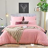 RUIKASI Ropa de cama 200 x 200 rosa suave microfibra ropa de cama para todo el año – 200 x 200 cm funda de edredón y 2 fundas de almohada de 80 x 80 cm con cremallera