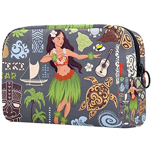 Makeup Tasche Tragbare Reisekosmetiktaschen, Vintage Aloha Hawaii Tiki Symbole