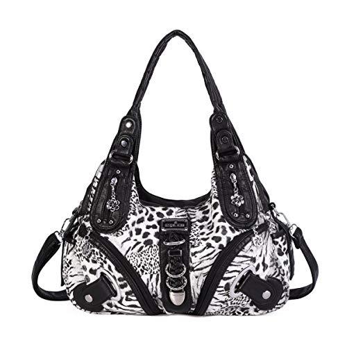 Women's Leopard Print Purses and Handbags Leather Hobo Satchel Bags for Women, black