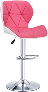 Adjustable Modern Bar Stools with Arm,Irregular Square PU Leather Adjustable Bar Stools with Back Counter Height Swivel Stool (Color : Pink, Size : 23.6in-31.4in)