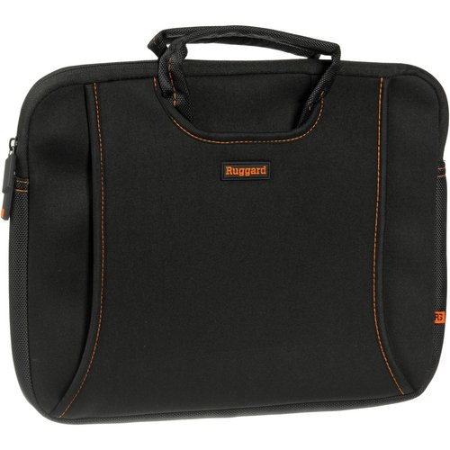 RUGGARD 13' Ultra Thin Laptop Sleeve with Handles (Black/Orange)