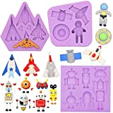 FUNSHOWCASE Outer Space Fondant Silicone Molds Robot Spaceship Astronaut Spacecraft for Sugarcraft...