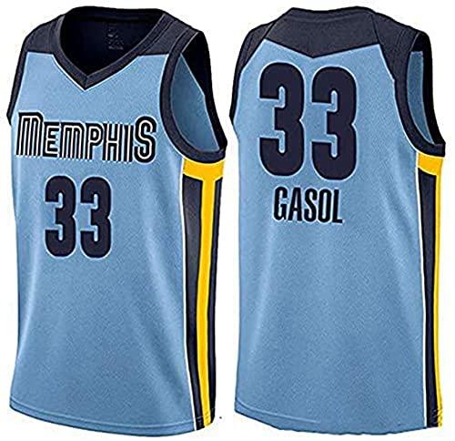 PTELEA Hombres Baloncesto Grizzlie Transpirable Ropa Deportiva Transpirable Transpiración Cómodo Gasol Jersey #33 Azul