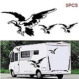 KKmoon 5 PCS Autocollant de Carrosserie de Voiture, Auto-adhésif Côté Camion Graphiques Aigle Autocollants Décalcomanies pour Camping-car Caravane, RV, Remorque