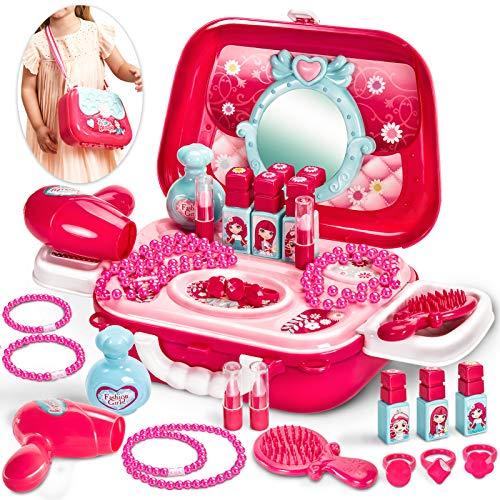 Buyger Rollenspiel Schminkset Spielzeug Kinderfön Schminkkoffer Friseur Set Geschenk für Kinder...