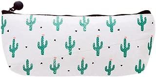 Bullidea Canvas Pen Pencil Case Bag Stationery Storage Pouch Bag Case Cosmetic Makeup Bag Coin Purse Cactus Pattern