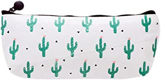 Bullidea Canvas Pen Pencil Case Bag Stationery Storage Pouch Bag Case Cosmetic Makeup Bag Coin Purse Cactus Pattern