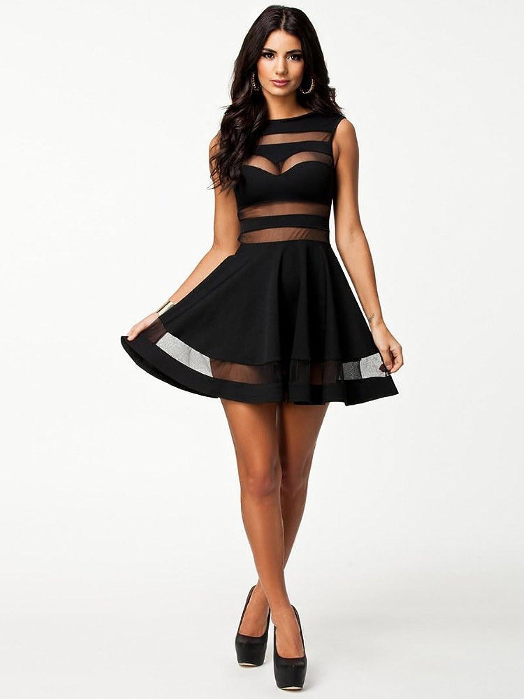 WYMBS Ladies dress Slim Solid color Lace skirt,black,M