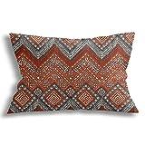 KCOUU - Federa decorativa per cuscino, in morbido cotone, traspirante, con motivo a zigzag paprika, design moderno, per divano letto, auto con cerniera 30,5 x 51,8 cm