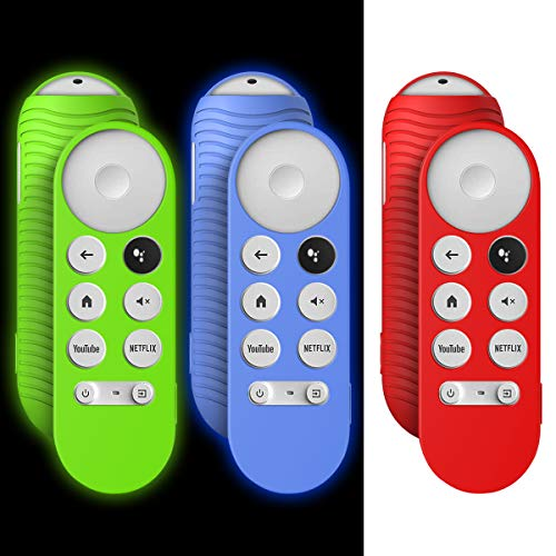 [3 Pcs] Case for Chromecast with Google TV 2020 Voice Remote, Shockproof Silicone Protective Cover for 2020 Chromecast Voice Remote, Washable, Anti-Lost with Loop (Red+Glow Blue+Glow Green)
