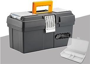 Caixa de ferramentas Caixa de ferramentas plástica com organizador de armazenamento de hardware da bandeja portátil para a...