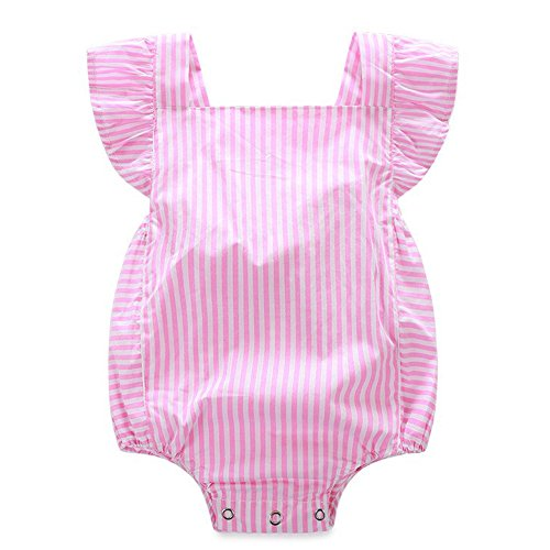 Baby Girls Plaid Striped Ruffle Bubble Romper Sleeveless Backless Bodysuit Sunsuit Summer Clothes (Pink Stripe,12-18 Months)