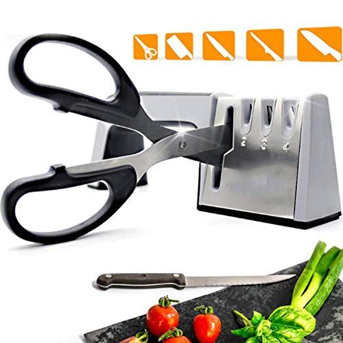 QXM Messerschärfer 4 Stufe Professionelle Küchen Wetzstein Scherenschleifer Messer Tungsten Diamant-Schleifstein,Silber