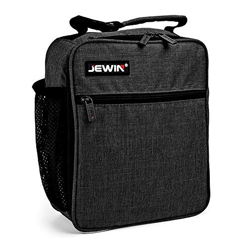 JEWIN Lunch Bag Insulated Pack Of Original Adult Containers Lunch Box - Tough & Spacious Adult Lunchbox (Lunch Bags Designed for Men, Adults, Women) (Black)