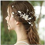 HONEY BEAR donna clip pettine per capelli,gioielli da sposa,accessori per capelli sposa,gioielli a forma di fiore con finte perle e strass (Fiore in ceramica B)