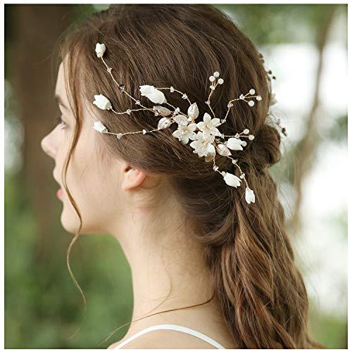 HONEY BEAR mujeres joyería nupcial Peinetas para el pelo flores,Cristal Simulated Pearl...