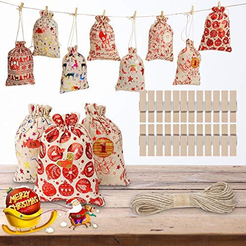 Herefun 24 Stück Weihnachten Geschenksäckchen Jutesäckchen, Weihnachtskalender Tüten Groß 16 x 22 cm, Adventskalender zum Befüllen, Stoffbeutel mit Langes Seil, 24 Holzklammern (A)