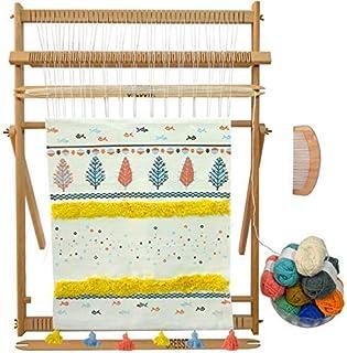 لوحة فنية منسوجة مبتكرة مصنوعة يدويًا من خشب الزان من Sailunte Weaving Loom مقاس 63.5 سم ارتفاع × 50.8 سم عرض (تقريبًا) إط...