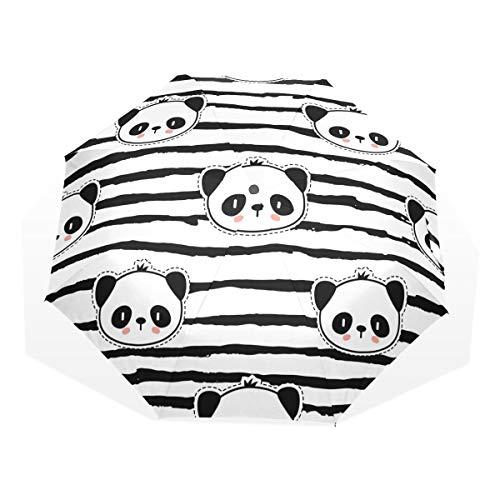 ISAOA Paraguas de viaje automático compacto plegable paraguas Panda Oso Patrón Resistente al Viento Ultra Luz UV Protección Paraguas para Mujer Hombre