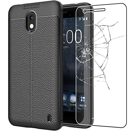 ebestStar - kompatibel mit Nokia 2 Hülle Lederhülle Design TPU Handyhülle Schutzhülle, Flex Silikon Hülle, Schwarz + Panzerglas Schutzfolie [Nokia 2: 143.5 x 71.3 x 9.3mm, 5.0'']