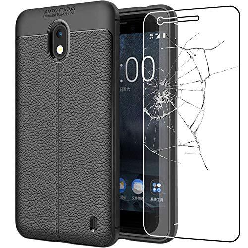 ebestStar - Cover Nokia Nokia 2 Custodia Protezione Silicone Gel TPU Morbida e Sottile con Pelle Design, Nero + Pellicola Vetro Temperato [Apparecchio: 143.5 x 71.3 x 9.3mm, 5.0'']